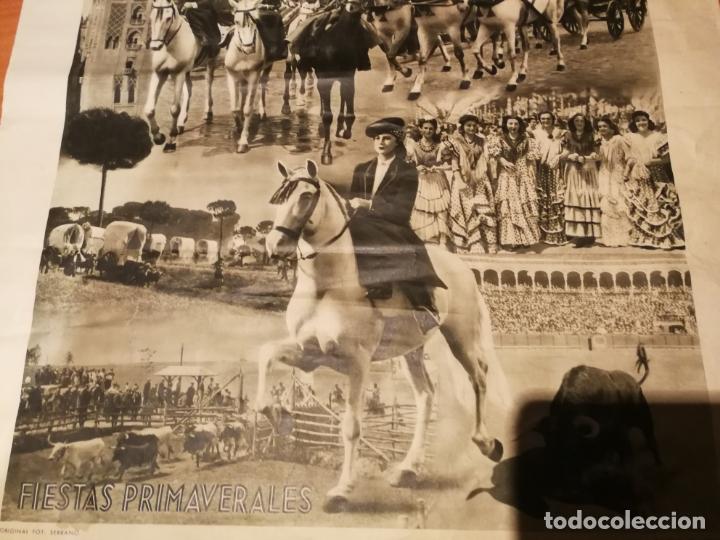 Carteles de Semana Santa: CARTEL FIESTA PRIMAVERALES SEVILLA 1944 ORIGINAL FOTOGRAFO SERRANO HUECOGRABADO FOURNIER VICTORIA - Foto 5 - 210805329