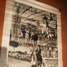 Carteles de Semana Santa: CARTEL FIESTA PRIMAVERALES SEVILLA 1944 ORIGINAL FOTOGRAFO SERRANO HUECOGRABADO FOURNIER VICTORIA. Lote 210805329