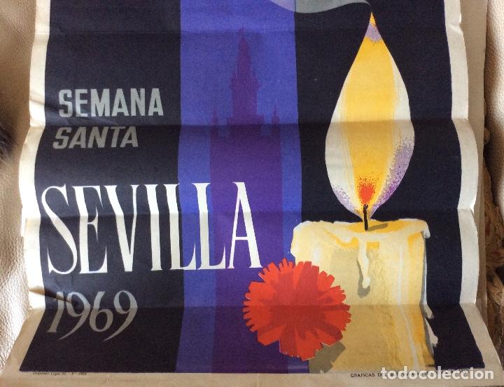 CARTEL SEMANA SANTA SEVILLA 1969.ESCUDERO.GRAFICAS DEL SUR 66X45 CM (Coleccionismo - Carteles Gran Formato - Carteles Semana Santa)