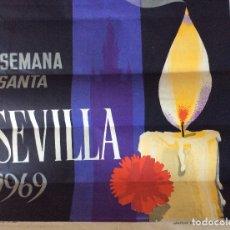 Carteles de Semana Santa: CARTEL SEMANA SANTA SEVILLA 1969.ESCUDERO.GRAFICAS DEL SUR 66X45 CM. Lote 177889788