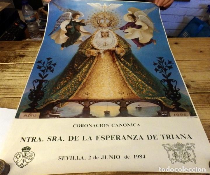 SEMANA SANTA SEVILLA, 1984, CARTEL ORIGINAL DE LA CORONACION DE LA ESPERANZA DE TRIANA,46X69 CMS (Coleccionismo - Carteles Gran Formato - Carteles Semana Santa)