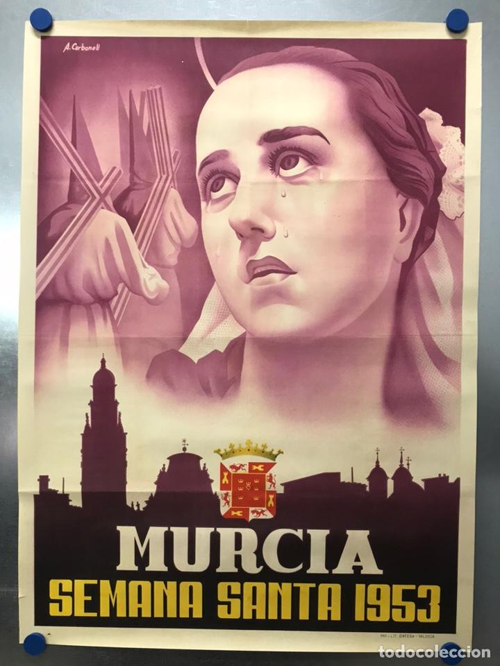 MURCIA - CARTEL DE SEMANA SANTA, AÑO 1953 - LITOGRAFIA - ILUSTRADOR: A. CARBONELL (Coleccionismo - Carteles Gran Formato - Carteles Semana Santa)