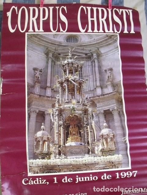 Carteles de Semana Santa: Cartel Corpus Chirsti 1997 - Delegación Municipal Fiestas Ayuntamiento Cádiz - Foto 2 - 181983365