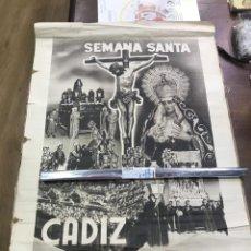 Carteles de Semana Santa: CARTEL SEMANA SANTA DE CADIZ AÑOS 40 - FOURNIER - FOTO DUBOIS - MEDIDA 70,5X50,5 CM - RELIGIOSO. Lote 184027557