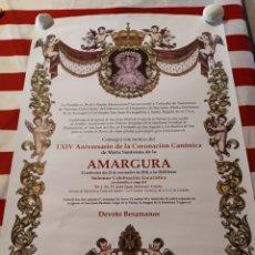 Carteles de Semana Santa: CARTEL CORONACIÓN CANÓNICA AMARGURA. Lote 184502298