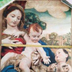 Carteles de Semana Santa: CARTEL GRAN FORMATO SEMANA SANTA SALZILLO MUSEO CATEDRATICO IMAGEN VIRGEN PORTANDO DOS BEBES. Lote 191394527