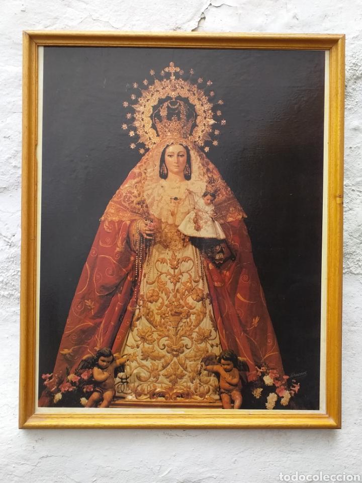 CARTEL DE VIRGEN ENMARCADO PRINCIPIOS AÑO 90 (Coleccionismo - Carteles Gran Formato - Carteles Semana Santa)