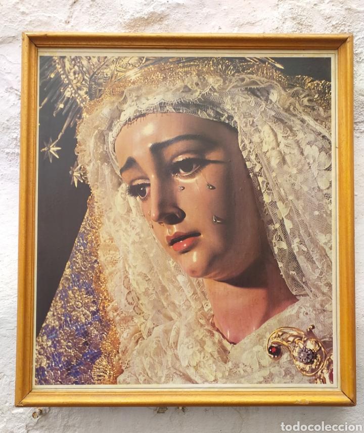 CARTEL DE VIRGEN ENMARCADO AÑOS 90 (Coleccionismo - Carteles Gran Formato - Carteles Semana Santa)