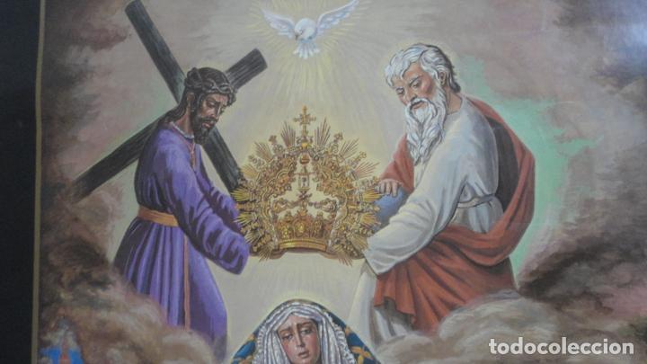 Carteles de Semana Santa: ANTIGUO CARTEL.CORONACION CANONICA.VIRGEN DE LAS ANGUSTIAS.LOS GITANOS.SEVILLA 1988. 85 X 56 - Foto 2 - 200019275