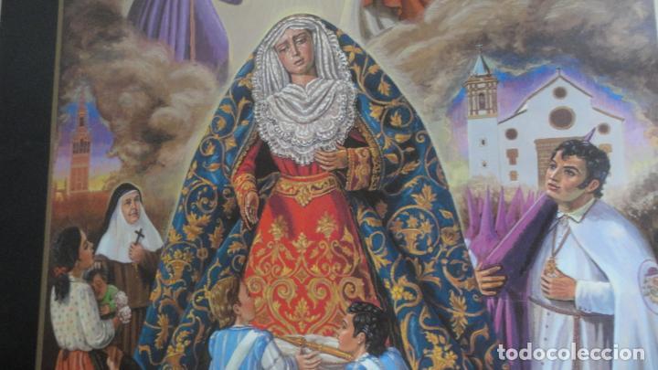 Carteles de Semana Santa: ANTIGUO CARTEL.CORONACION CANONICA.VIRGEN DE LAS ANGUSTIAS.LOS GITANOS.SEVILLA 1988. 85 X 56 - Foto 3 - 200019275