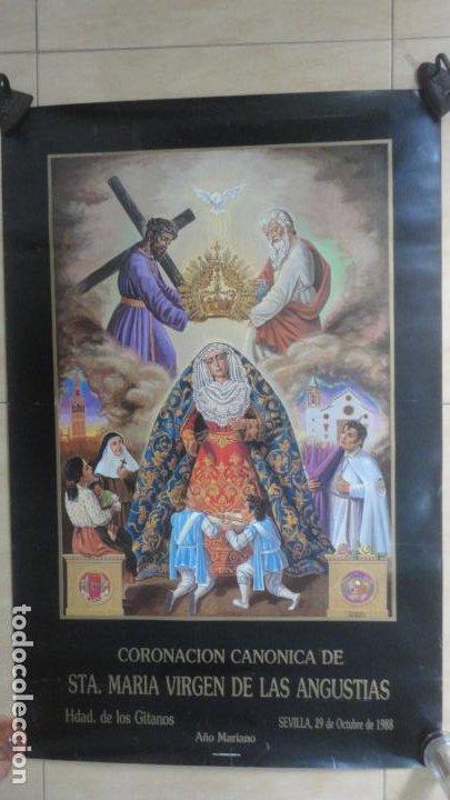 ANTIGUO CARTEL.CORONACION CANONICA.VIRGEN DE LAS ANGUSTIAS.LOS GITANOS.SEVILLA 1988. 85 X 56 (Coleccionismo - Carteles Gran Formato - Carteles Semana Santa)