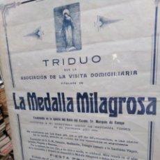 Carteles de Semana Santa: CARTEL ANTIGUO RELIGIOSO, TRIDUO QUE LA ASOCIACIÓN DE LA VISITA DOMICILIARIA AÑO 1926. Lote 200244478