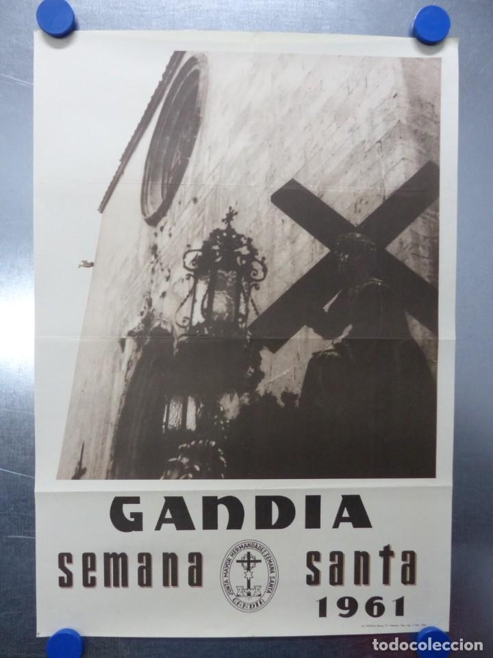 CARTEL SEMANA SANTA - GANDIA, VALENCIA - AÑO 1961 (Coleccionismo - Carteles Gran Formato - Carteles Semana Santa)