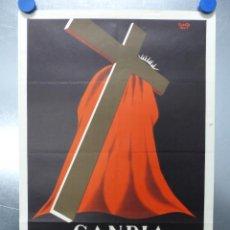 Carteles de Semana Santa: CARTEL SEMANA SANTA - GANDIA, VALENCIA - AÑO 1960, LITOGRAFIA. Lote 202472991