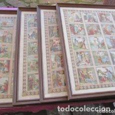 Carteles de Semana Santa: HISTORIA SAGRADA CALLEJA 4 CARTELES CON 120 CROMOS ENCUADRADOS 98 X 80 CM.. Lote 205827907