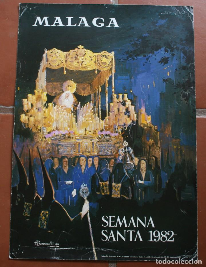 ANTIGUO CARTEL POSTER MALAGA SEMANA SANTA 1982 – 47 X 33 CM CARTONÉ – ESTADO TAL CUAL LA FOTOGRAFIA (Coleccionismo - Carteles Gran Formato - Carteles Semana Santa)