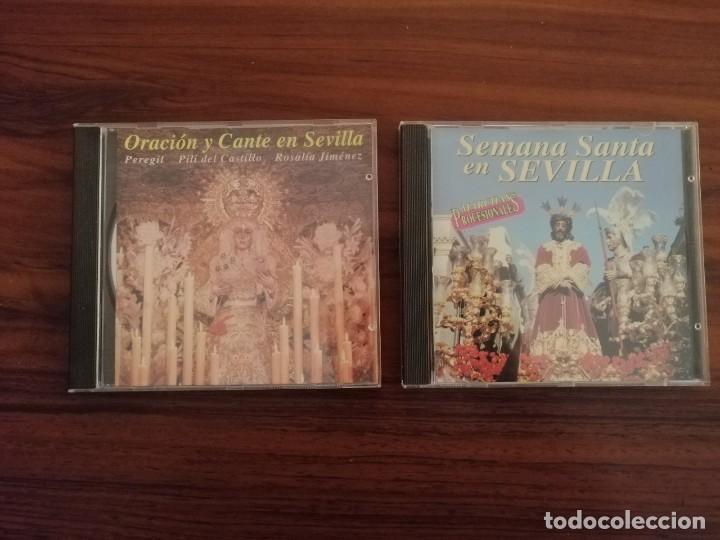 LOTE 2 CDS SEMANA SANTA SEVILLA. MARCHAS Y SAETAS. (Coleccionismo - Carteles Gran Formato - Carteles Semana Santa)