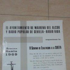 Carteles de Semana Santa: ANTIGUO CARTEL PROGRAMA.II EXALTACION A LA SAETA.MAIRENA DEL ALCOR.SEMANA SANTA 1969. Lote 221312035