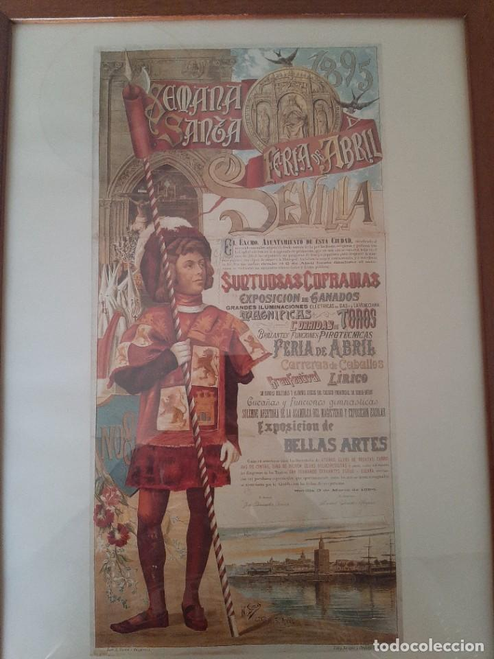 Carteles de Semana Santa: 4 CARTELES DE SEMANA SANTA Y FERIA DE SEVILLA ANTIGUOS ENMARCADOS, REPRODUCCIONES - Foto 3 - 221535250