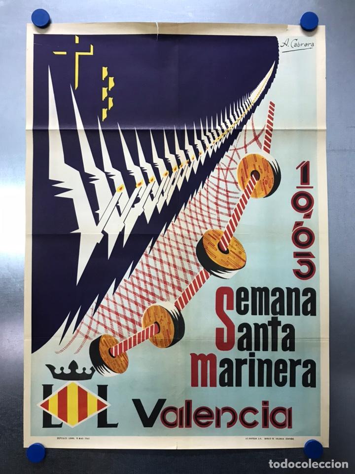 CARTEL VALENCIA, SEMANA SANTA MARINERA - AÑO 1963 - LITOGRAFIA, A. CABRERA (Coleccionismo - Carteles Gran Formato - Carteles Semana Santa)
