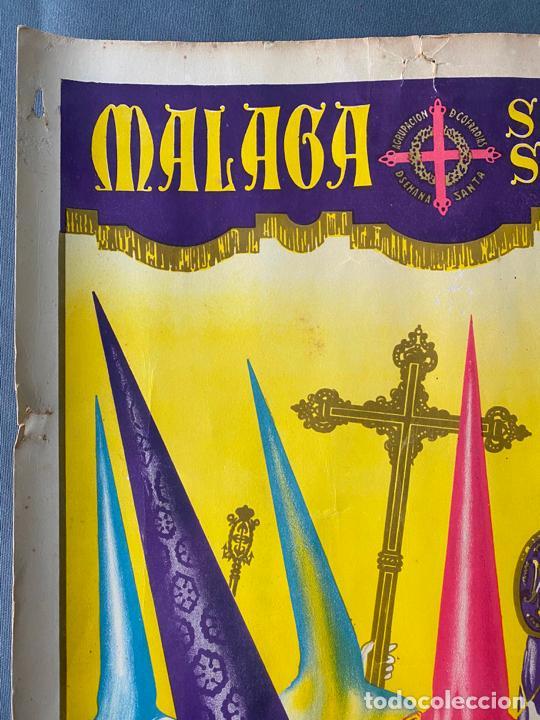 Carteles de Semana Santa: Málaga , semana santa de 1956 , cartel original , serigrafía de Soria , Casares - Foto 2 - 224969507