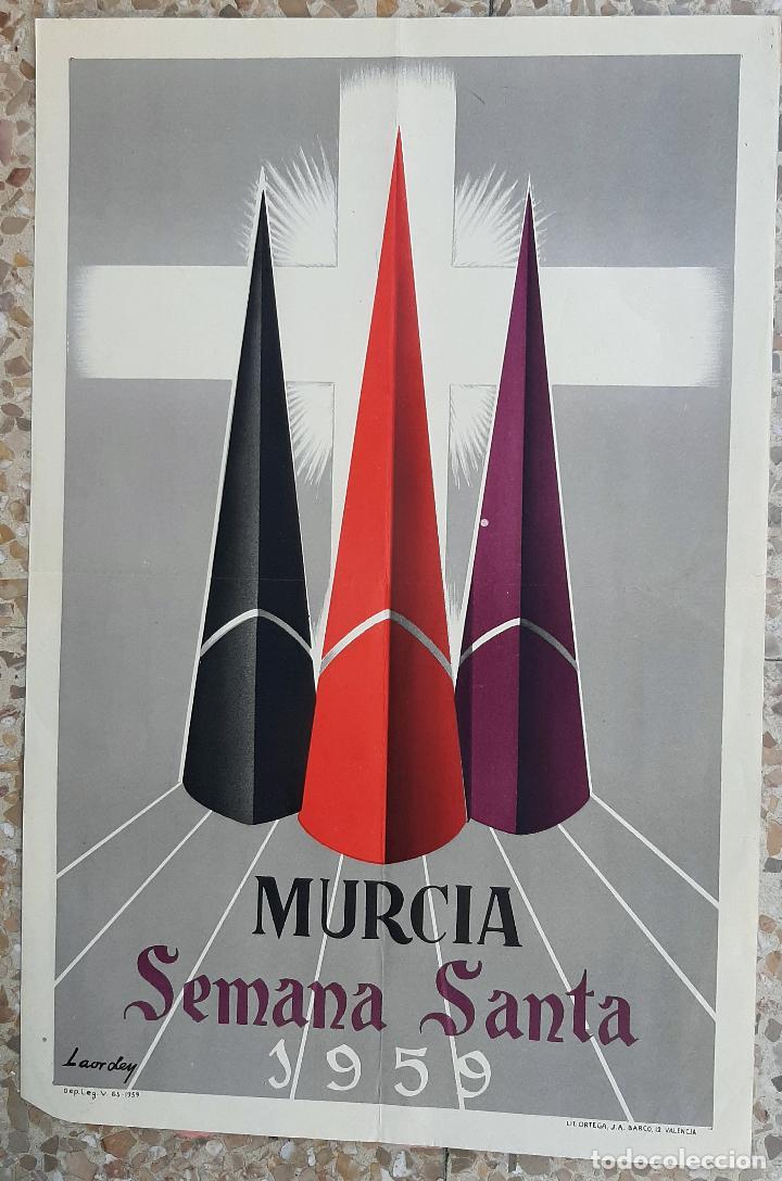 CARTEL SEMANA SANTA MURCIA 1959 LITOGRAFIA LAORDEN ORIGINAL PL (Coleccionismo - Carteles Gran Formato - Carteles Semana Santa)