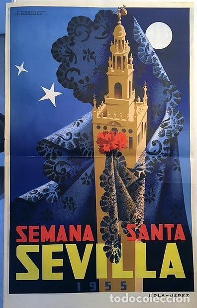 SEMANA SANTA DE SEVILLA. 1955. CARTEL LITOGRÁFICO EN COLOR. AUTOR: F. MARISCAL. 100 X 61 CM. (Coleccionismo - Carteles Gran Formato - Carteles Semana Santa)