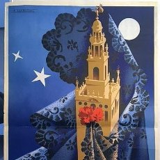 Carteles de Semana Santa: SEMANA SANTA DE SEVILLA. 1955. CARTEL LITOGRÁFICO EN COLOR. AUTOR: F. MARISCAL. 100 X 61 CM.. Lote 234908990