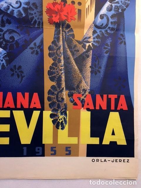 Carteles de Semana Santa: Semana Santa de Sevilla. 1955. Cartel litográfico en color. Autor: F. Mariscal. 100 x 61 cm. - Foto 2 - 234908990