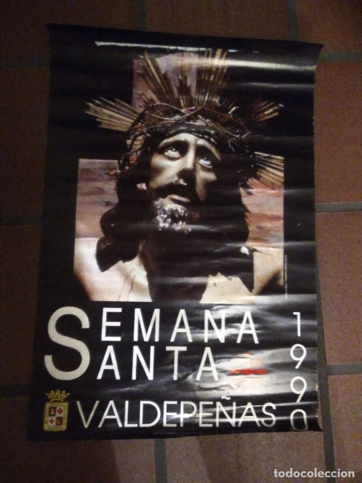 CARTELES DE SEMANA SANTA DE VALDEPEÑAS CIUDAD REAL LOTE DE 4 UDS. AÑOS 90 MEDIDAS:65 X 45 (Coleccionismo - Carteles Gran Formato - Carteles Semana Santa)