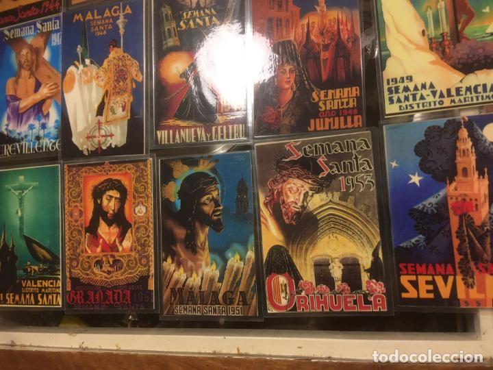 Carteles de Semana Santa: 24 reproduciones carteles semana santa tamaño postal Sevilla,Malaga,Cartagena,Cádiz. desde1927/1955 - Foto 3 - 245103415