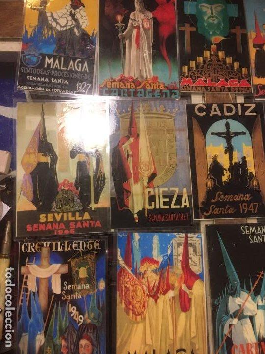 Carteles de Semana Santa: 24 reproduciones carteles semana santa tamaño postal Sevilla,Malaga,Cartagena,Cádiz. desde1927/1955 - Foto 7 - 245103415