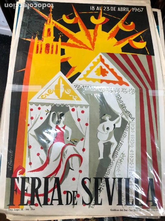 CARTEL ORIGINAL FERIA DE SEVILLA AÑO 1967 - MEDIDA 68X46 CM - RELIGIOSO (Coleccionismo - Carteles Gran Formato - Carteles Semana Santa)