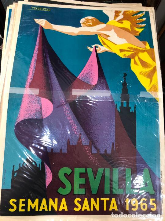 CARTEL ORIGINAL SEMANA SANTA DE SEVILLA AÑO 1965 - MEDIDA 68X46 CM - RELIGIOSO (Coleccionismo - Carteles Gran Formato - Carteles Semana Santa)