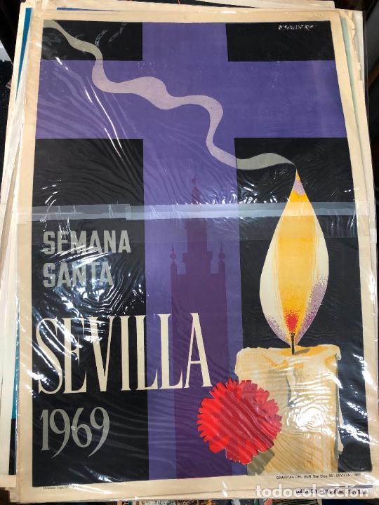 CARTEL ORIGINAL SEMANA SANTA DE SEVILLA AÑO 1969 - MEDIDA 68X46 CM - RELIGIOSO (Coleccionismo - Carteles Gran Formato - Carteles Semana Santa)