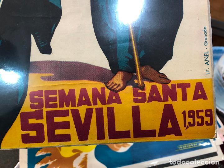 Carteles de Semana Santa: CARTEL ORIGINAL SEMANA SANTA DE SEVILLA AÑO 1959 - MEDIDA 50X32 CM - RELIGIOSO - Foto 3 - 263169985