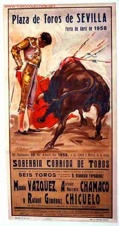 CARTEL TOROS SEVILLA 1958 (Coleccionismo - Carteles Gran Formato - Carteles Toros)