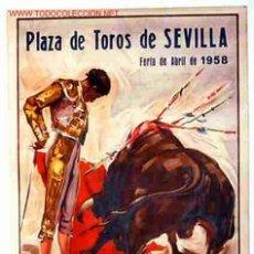 Carteles Toros: CARTEL TOROS SEVILLA 1958. Lote 151319205