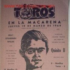 Carteles Toros: CARTEL DE TORO DE TOROS EN LA MACARENA, 19 DE MARZO DE 1964.. Lote 16125892
