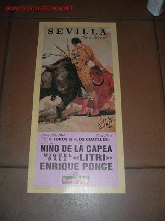 CARTEL DE TORO - FERIA DE ABRIL 1992 - SEVILLA (Coleccionismo - Carteles Gran Formato - Carteles Toros)