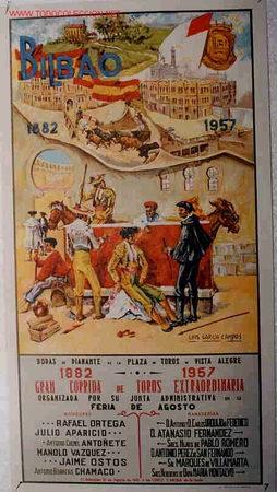 CARTEL TOROS Y FIESTAS BILBAO , 1957 , TORERO FUMANDO , ORIGINAL (Coleccionismo - Carteles Gran Formato - Carteles Toros)
