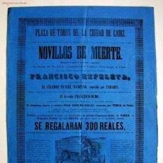 Carteles Toros: CARTEL DE TOROS. CADIZ, SIGLO XIX. Lote 27392068
