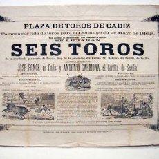Carteles Toros: CARTEL DE TOROS. CÁDIZ, SIGLO XIX. Lote 27418375