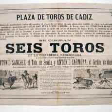 Carteles Toros: CARTEL DE TOROS. CÁDIZ, SIGLO XIX. Lote 27018402