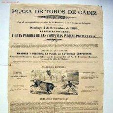 Carteles Toros: CARTEL DE TOROS. CÁDIZ, SIGLO XIX. Lote 27418380
