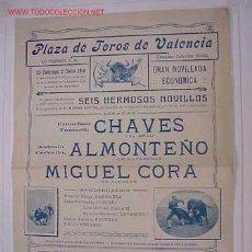 Carteles Toros: CARTEL DE TOROS VALENCIA - JULIO 1916. Lote 16439272