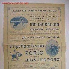 Carteles Toros: CARTEL DE TOROS VALENCIA JUNIO 1916. Lote 16123029