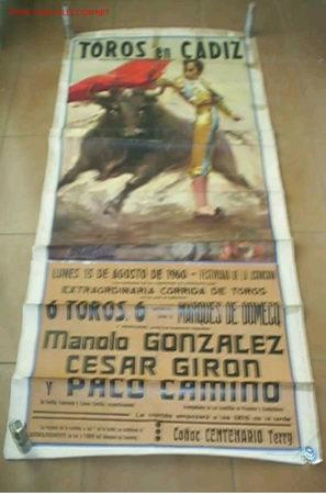 CARTEL DE LA PLAZA DE TORO DE CADIZ,LUNES 15/08/1960 (Coleccionismo - Carteles Gran Formato - Carteles Toros)