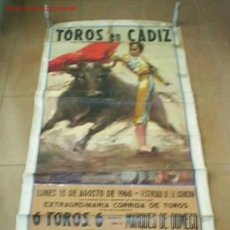 Carteles Toros: CARTEL DE LA PLAZA DE TORO DE CADIZ,LUNES 15/08/1960. Lote 1233862