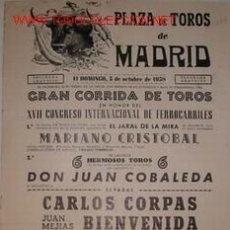 Carteles Toros: CARTEL PLAZA DE TOROS DE MADRID, 5 OCTUBRE 1958. Lote 19321307